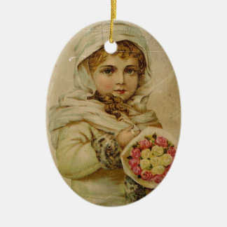 Ornement Ovale En Céramique Fille victorienne avec des roses