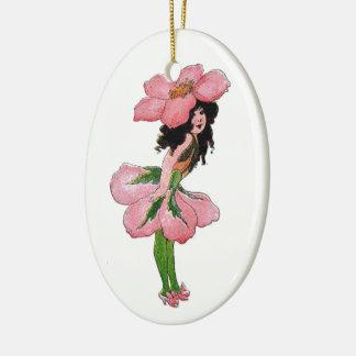 Ornement Ovale En Céramique Fille vintage florale mignonne d'enfant de fleur