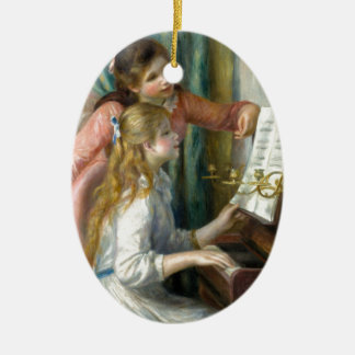 Ornement Ovale En Céramique Filles au piano