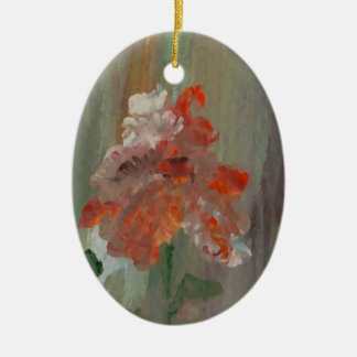 Ornement Ovale En Céramique Fleur élégante florale assez impressionniste