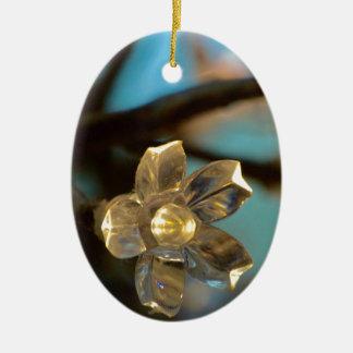 Ornement Ovale En Céramique Fleurs de cerisier lumineuses