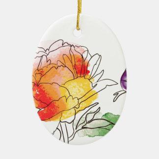 Ornement Ovale En Céramique Fleurs de pivoine d'aquarelle