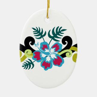 Ornement Ovale En Céramique Floral hawaïen