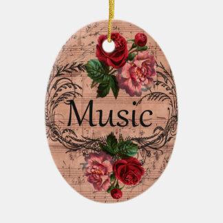 Ornement Ovale En Céramique Floral vintage pour l'amour de la musique