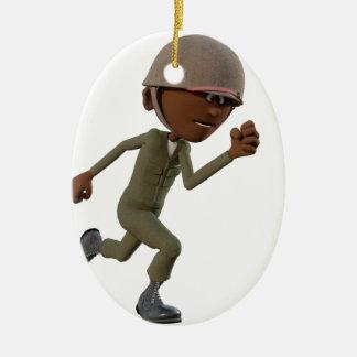 Ornement Ovale En Céramique Fonctionnement de soldat d'Afro-américain de bande