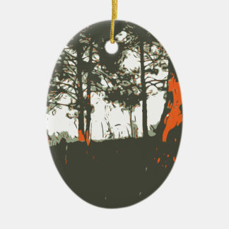 Ornement Ovale En Céramique Forêt