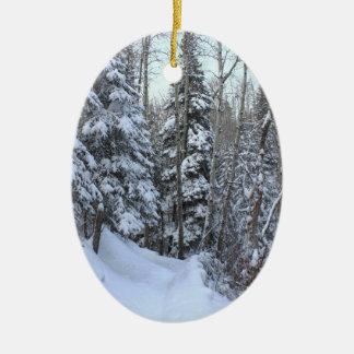 Ornement Ovale En Céramique Forêt de Canadien de Milou