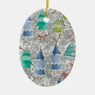 Ornement Ovale En Céramique Forêt d'hiver de couleur d'eau