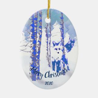 Ornement Ovale En Céramique Fox daté de Noël de coutume dans la forêt d'arbre