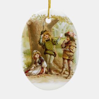 Ornement Ovale En Céramique Frances Brundage : Celia, Rosalind, et Orlando