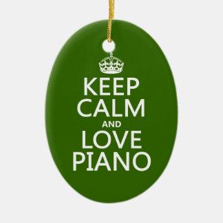 Ornement Ovale En Céramique Gardez le calme et aimez le piano (toute couleur