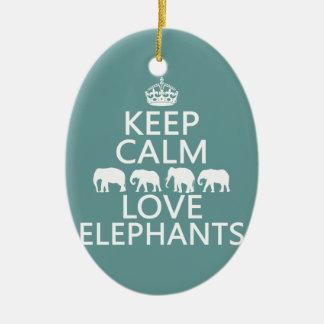 Ornement Ovale En Céramique Gardez le calme et aimez les éléphants (les