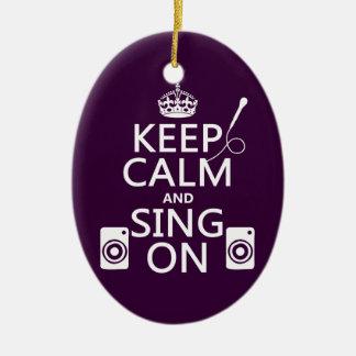 Ornement Ovale En Céramique Gardez le calme et chantez sur (le karaoke)
