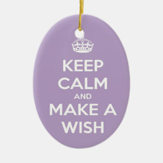 Ornement Ovale En Céramique Gardez le calme et faites une lavande de souhait