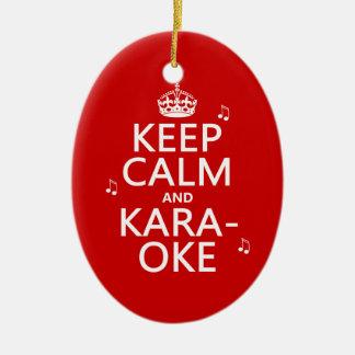 Ornement Ovale En Céramique Gardez le calme et le karaoke (la couleur de