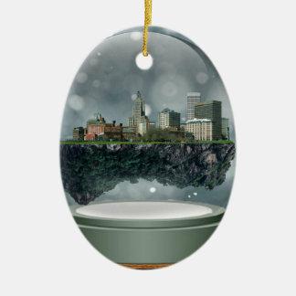 Ornement Ovale En Céramique Globe de neige d'île de Providence