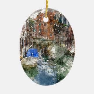 Ornement Ovale En Céramique Gondoles de Venise Italie et bâtiments colorés