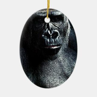 Ornement Ovale En Céramique Gorille