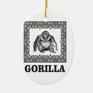 Ornement Ovale En Céramique gorille enfermé dans une boîte