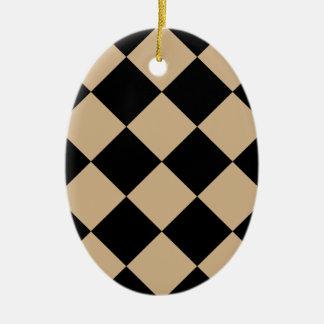 Ornement Ovale En Céramique Grand Checkered de Diag - noir et Tan