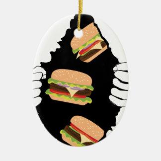 Ornement Ovale En Céramique Grand hamburger savoureux et Hands3