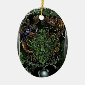 Ornement Ovale En Céramique GreenMan~ornament