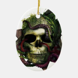 Ornement Ovale En Céramique Grunge de crâne de poulpe
