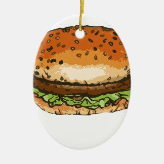 Ornement Ovale En Céramique hamburger