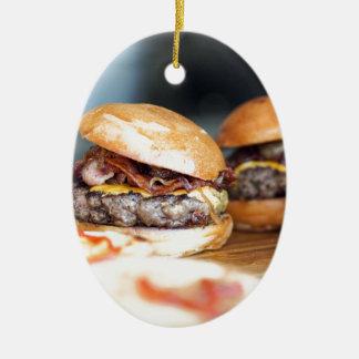 Ornement Ovale En Céramique Hamburgers