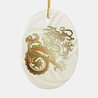 Ornement Ovale En Céramique Icône de dragon - cuivre vert - 1B