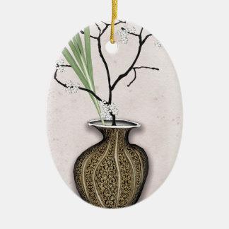 Ornement Ovale En Céramique Ikebana 1 par les fernandes élégants