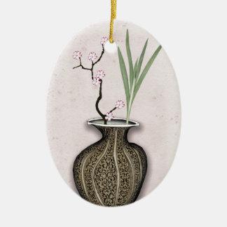 Ornement Ovale En Céramique Ikebana 2 par les fernandes élégants
