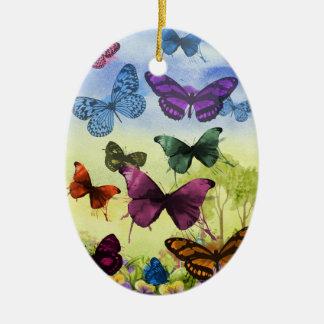 Ornement Ovale En Céramique Illustration colorée de papillons d'aquarelle