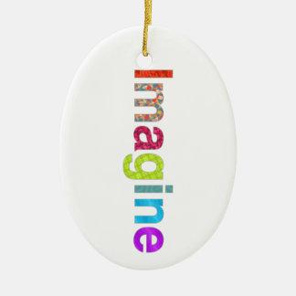 Ornement Ovale En Céramique Imaginez le cadeau coloré d'inspiration