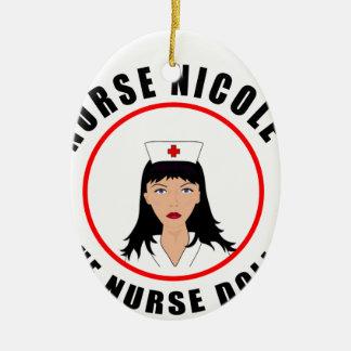 Ornement Ovale En Céramique Infirmière de Nicole