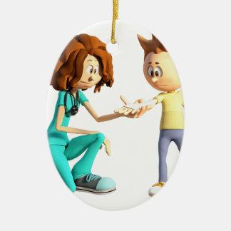 Ornement Ovale En Céramique Infirmière et Little Boy de bande dessinée