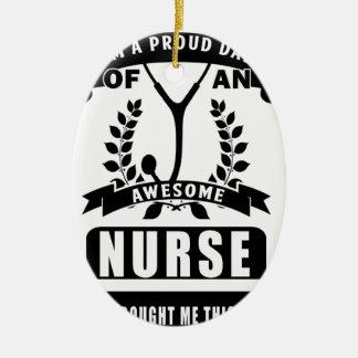 Ornement Ovale En Céramique infirmière et papa