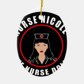 Ornement Ovale En Céramique Infirmière Nicole