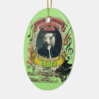 Ornement Ovale En Céramique J.S. Le dos animal de compositeur de moutons de