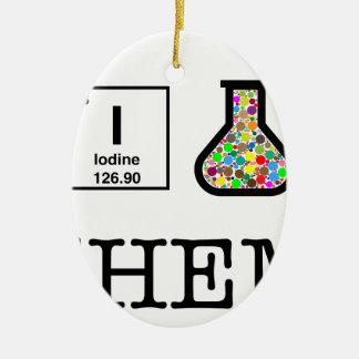 Ornement Ovale En Céramique J'aime la chimie