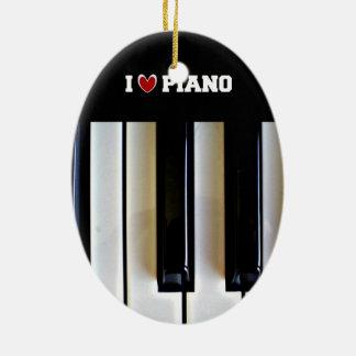 Ornement Ovale En Céramique J'aime le piano
