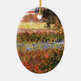 Ornement Ovale En Céramique Jardin fleurissant de Van Gogh, beaux-arts floraux