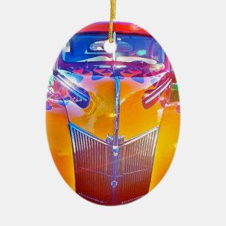 Ornement Ovale En Céramique Jaune américain classique de voiture de course