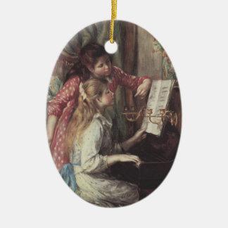 Ornement Ovale En Céramique Jeunes filles au piano par Pierre Renoir