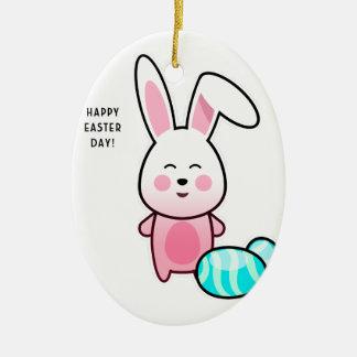 Ornement Ovale En Céramique Jour heureux de Pâques