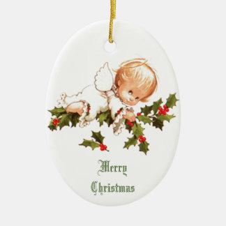 Ornement Ovale En Céramique Joyeux Noël peu d'ange