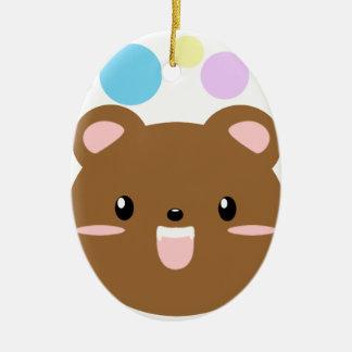 Ornement Ovale En Céramique Kawaii/ours mignon