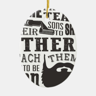 Ornement Ovale En Céramique La barbe, un certain père enseignent à raser