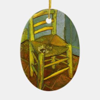 Ornement Ovale En Céramique La chaise de Vincent avec son tuyau par Van Gogh