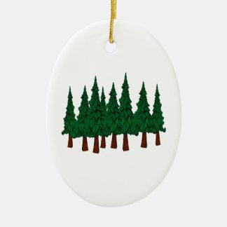 Ornement Ovale En Céramique La forêt à feuillage persistant